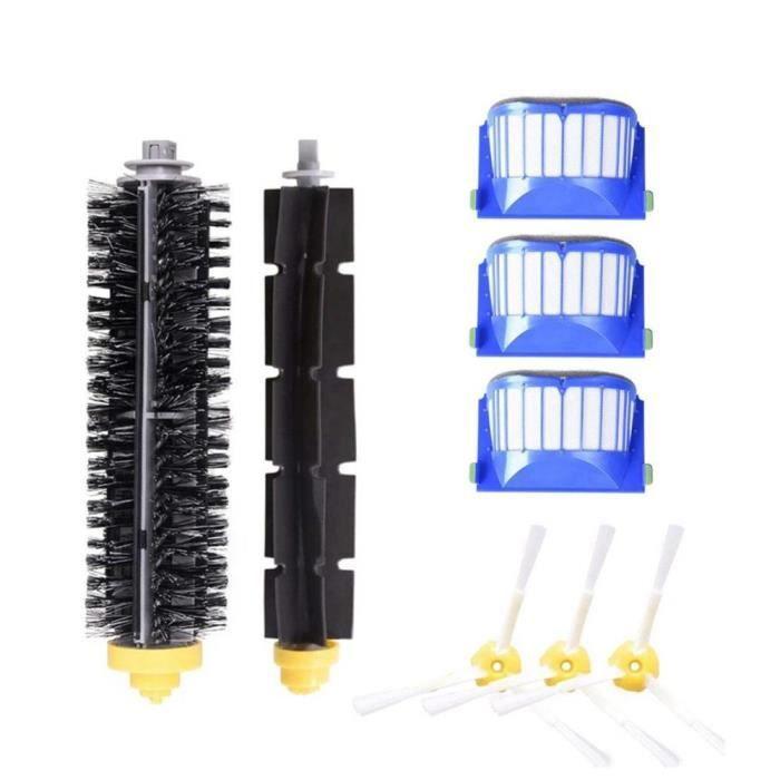 Brosse à rouleau, latérale centrale et filtre Hepa pour iRobot Roomba 600,pièces de rechange d'aspirateur robot series [15FE53B]