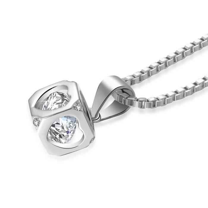 Collier pour femme Cadeau de Noël Swarovski Zirconium Birthstone Bijoux Rhodium Plaqué
