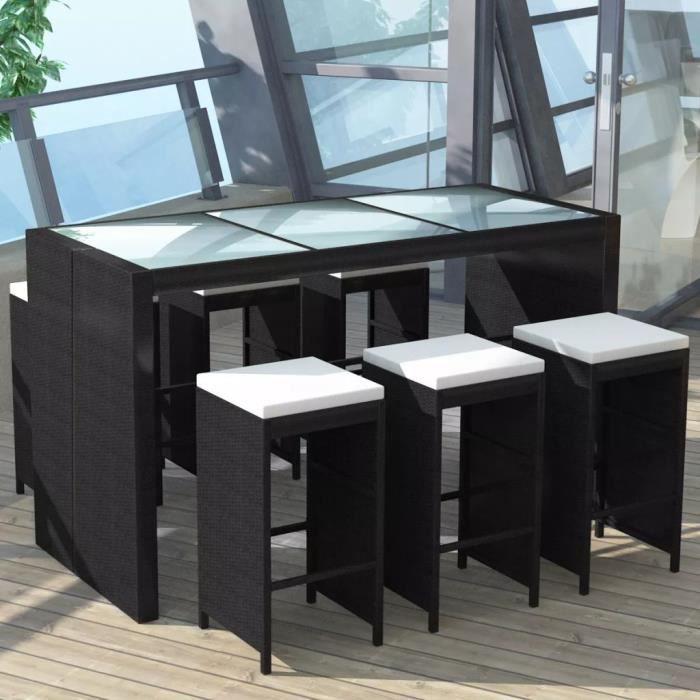 Ensemble Table de bar + 6 tabourets bar et coussins - Meuble de bar de jardin 7 pcs - Résine tressée Noir