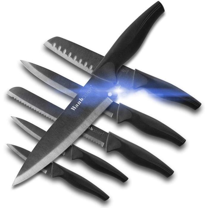 6 pièces Ensemble de Couteaux de Cuisine Professionnel, Set de Couteaux en Acier Inoxydable, Ensemble de Couteaux de Cuisine Chef No