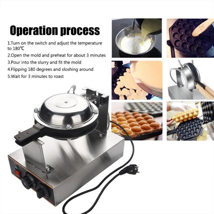 Machine à Gaufre DIY Antiadhésive Crêpe Oeuf Moule Cuisson Pan Cake Bubble Gaufre Maker Cuisine 1.4KW