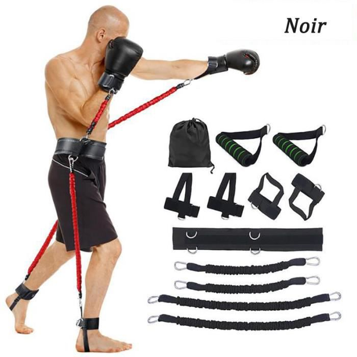 12 pcs-ensemble Bandes de Elastique Résistance 9 kg pour Taille et Jambes boxe exercice fitness -ZS7850 Noir
