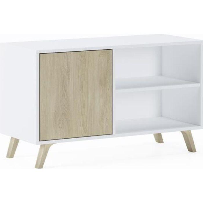 Meuble TV 100 avec porte à gauche, salon, modèle WIND, couleur de structure blanche, couleur de porte Puccini, mesure 92x40x57cm