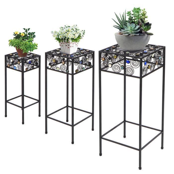 Support de fleur Support de pot de fleur en fer forgé 3 pièces - ensemble pour présentoir de plantes de salon de balcon-HEN