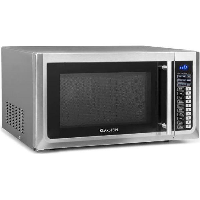 Klarstein Brilliance Pro Four micro-ondes 43 litres 1000W - Grill à chaleur tournante 1250W - Plaque de cuisson Ø 31,5cm - Inox