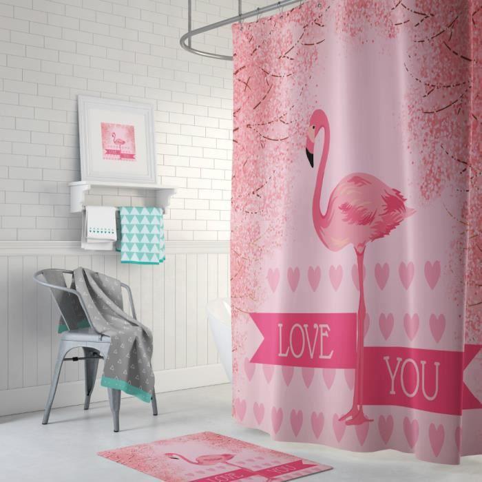 Rideau de douche Tropicale flamant coeurs love you anneaux inclus 3D effect imperméable 180 x 200 cm