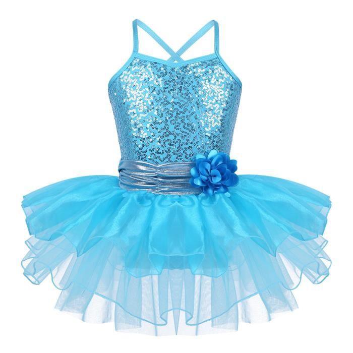 Tutu Robe Danse Fille Paillettes Classique Justaucorps Gymnastique Classique Robe Ballet Leotard Spectacle Princesse Enfant 3-8 Ans