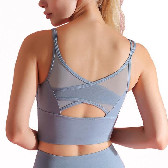 Brassière Sport Femme Soutien-Gorge avec Coussinet Amovible sans Couture sans Armature Bleu S