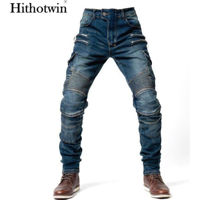 Pantalon de moto Hommes Moto Jeans Zipper Équipement de protection