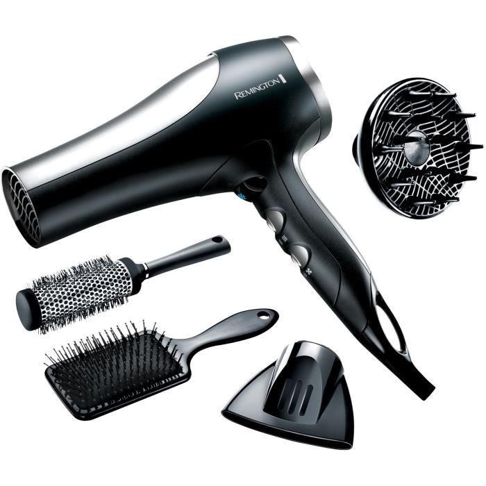 Remington D5017 Coffret Cheveux, Sèche-Cheveux 2100W Ionique Céramique Puissant, 2 Brosses Cheveux