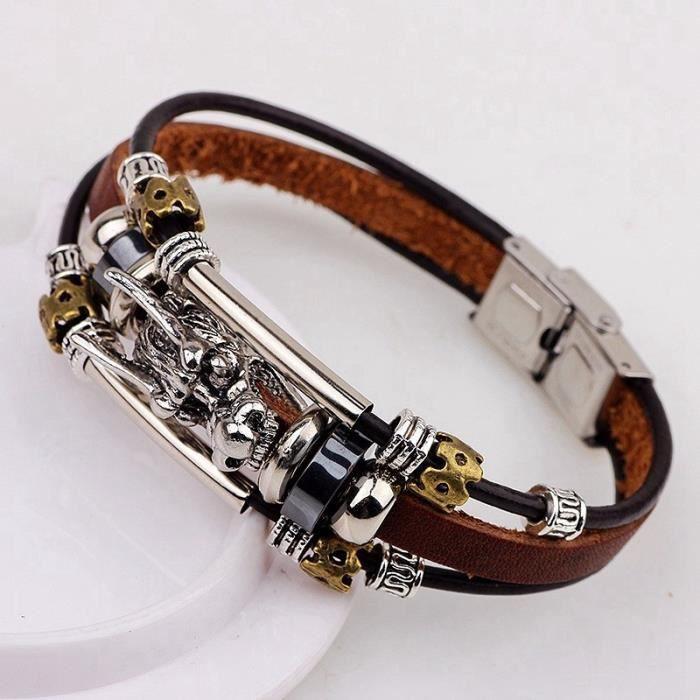 Bracelet homme Accessoires homme Bracelet en cuir tibétain en cuir argenté Mâle Vintage Dragon Bijoux multicouches