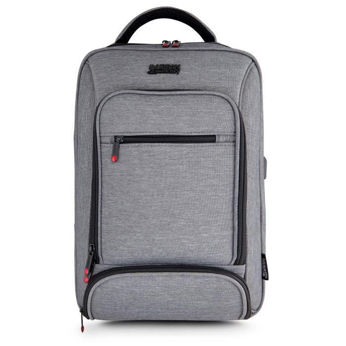 URBAN FACTORY Sac à dos pour PC Portable MCE15UF - 15,6'' - Port USB et câble pour smartphones et tablettes - Gris chiné