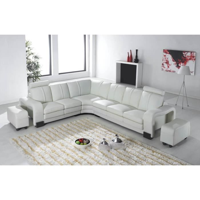 canap d 39 angle en cur blanc 2 poufs palermo achat. Black Bedroom Furniture Sets. Home Design Ideas