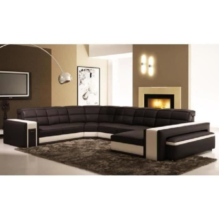 canap d 39 angle panoramique en cuir noir et blanc achat vente canap sofa divan cdiscount. Black Bedroom Furniture Sets. Home Design Ideas