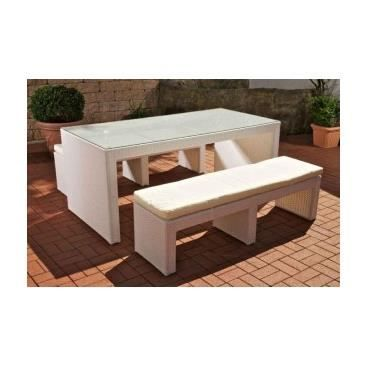 ensemble de jardin banc et table germano blanc achat. Black Bedroom Furniture Sets. Home Design Ideas
