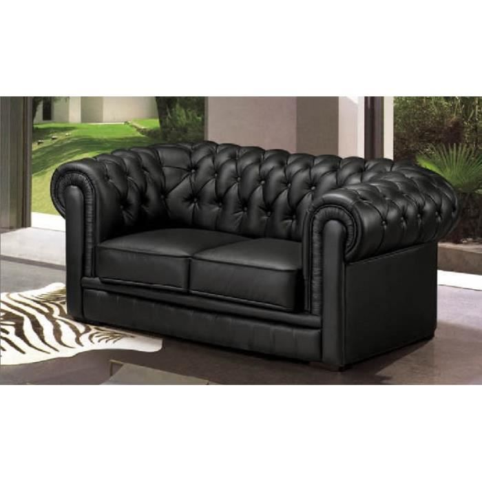 canap 2 places chesterfield cuir noir achat vente canap sofa divan cuir cdiscount. Black Bedroom Furniture Sets. Home Design Ideas