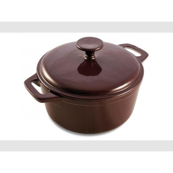 Cocotte ronde couvercle 21 cm aubergine achat vente for Art and cuisine cocotte