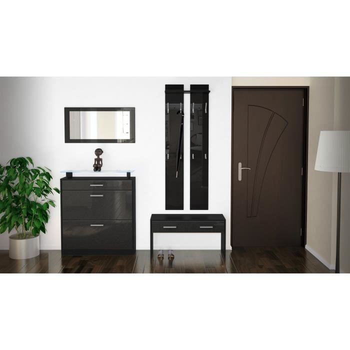 ensemble de meubles d 39 entr e noir noir m tallique achat. Black Bedroom Furniture Sets. Home Design Ideas