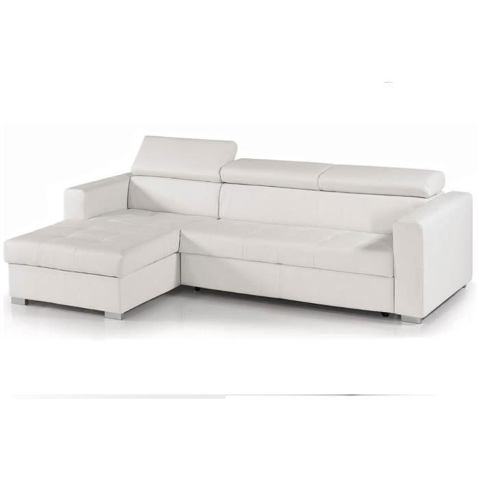 canap d 39 angle convertible reversible cuir blanc coffre alisa achat vente canap sofa. Black Bedroom Furniture Sets. Home Design Ideas