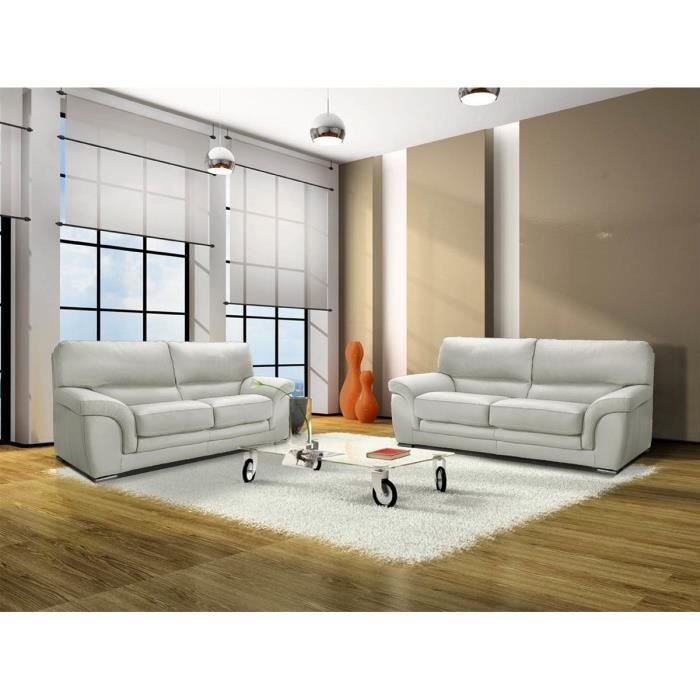 canap cuir de vachette buffle clara 2 places blanc achat vente canap sofa divan. Black Bedroom Furniture Sets. Home Design Ideas