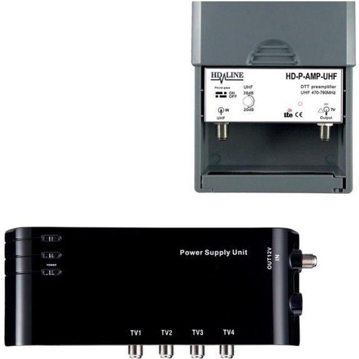 REPETEUR DE SIGNAL Kit préamplificateur HD-LINE  4/1 TV amplificateur