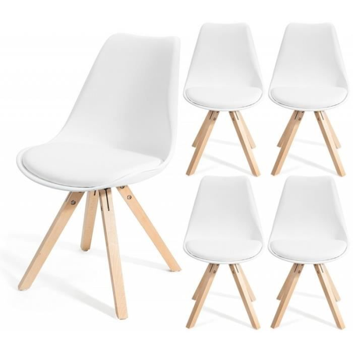 fjone blanc lot de 4 chaises design contemporain nordique scandinave super qualit achat. Black Bedroom Furniture Sets. Home Design Ideas