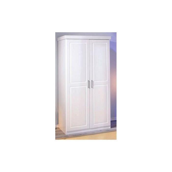 ARMOIRE DE CHAMBRE Armoire 2 portes en pin blanchi vernis PAUL2W
