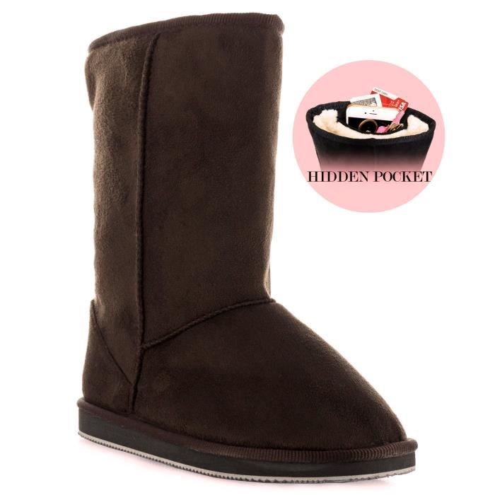 Salle de mode d'hiver Pull-Bottes mi-mollet - Comfort shearling Fur Lined Vegan Suede antidérapage Ru B1LOO Taille-41 ws7iis7UyV