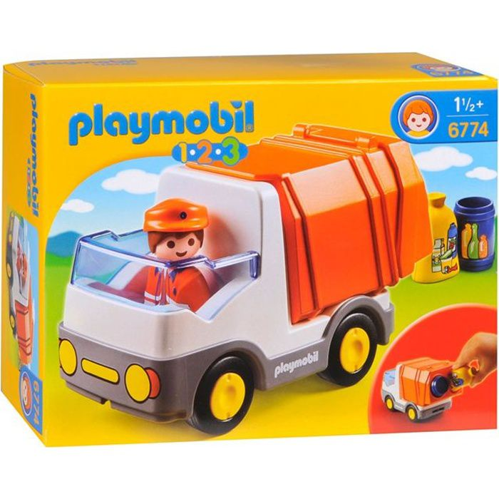 playmobil 1 2 3 6774 camion poubelle achat vente univers miniature cdiscount. Black Bedroom Furniture Sets. Home Design Ideas