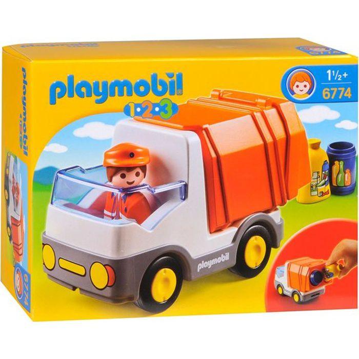 UNIVERS MINIATURE PLAYMOBIL 6774 - PLAYMOBIL 1.2.3 - Camion Poubelle