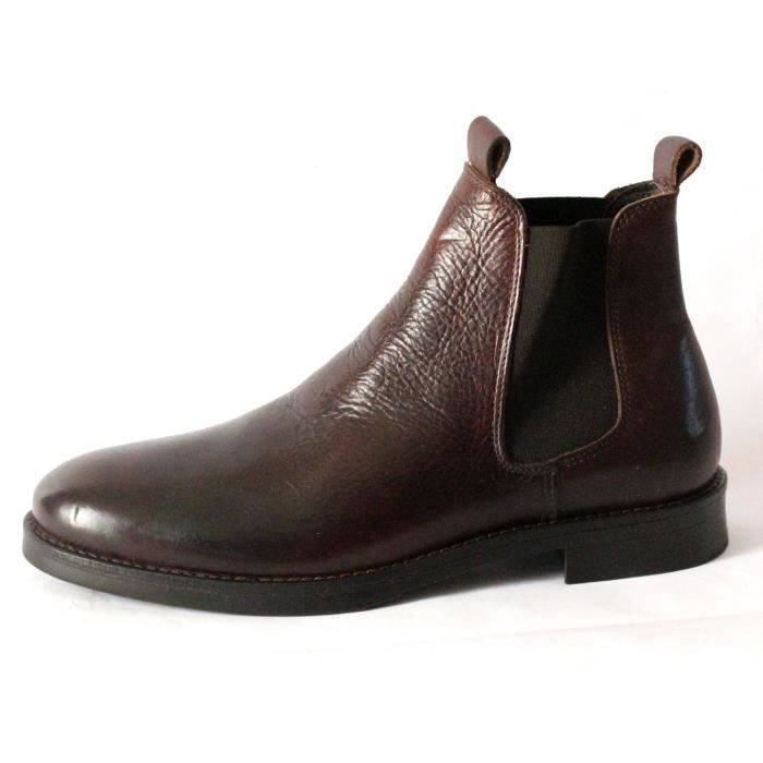 SELECTED chelsea BOTTINES CUIR HOMME MARRON T 40 NEUVES