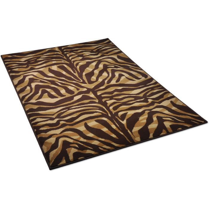 tapis salon zebre cr me et marron universol 1 achat vente tapis soldes d hiver d s le. Black Bedroom Furniture Sets. Home Design Ideas