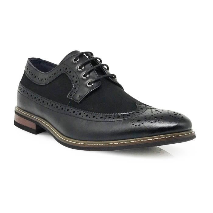 Titan02 Colonial Spectateur Deux Tone Grands Wingtips Oxfords Chaussures Lace Up perforé Robe FFVKH Taille-47