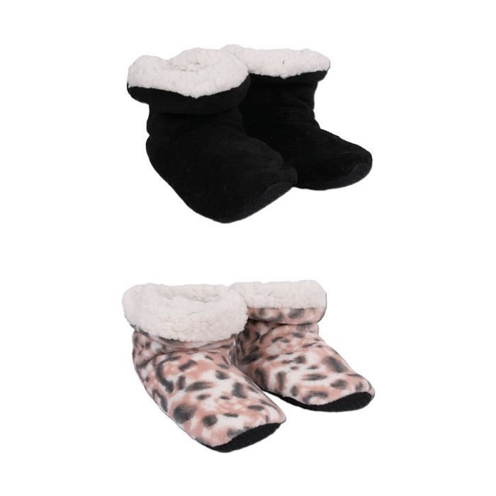 Chaussons bottines fourrés femme lot de 2
