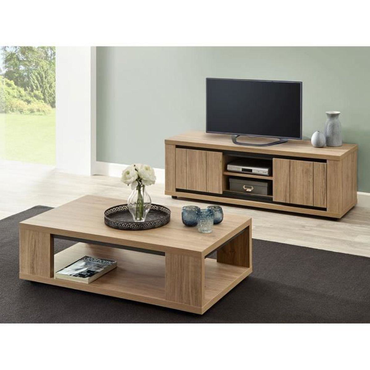 kirsten ensemble table basse et meuble tv prix pas. Black Bedroom Furniture Sets. Home Design Ideas