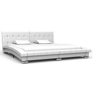 STRUCTURE DE LIT Cadre de lit Blanc Simili-cuir 200 x 160 cm - DM28