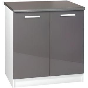 ELEMENTS BAS Meuble cuisine bas 80 cm 2 portes TARA gris