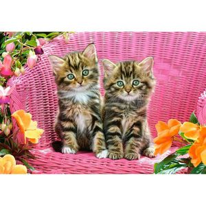 PUZZLE Puzzle 1000 pièces Kittens on Garden Chair