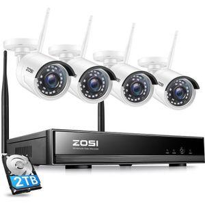 CAMÉRA DE SURVEILLANCE ZOSI H,265+ 2TB NVR 8CH en 1080P, 2MP Caméra Surve