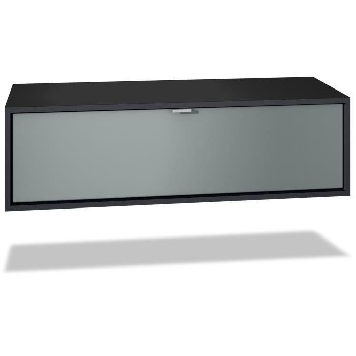 Meuble TV Lana 80 armoire murale lowboard 80 x 29 x 37 cm, caisson en blanc mat, façades en Graphite satiné mat
