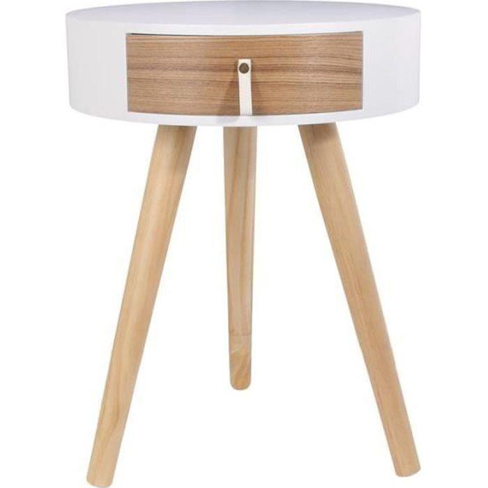 Table de chevet ronde en bois avec tiroir - Nora - D 34,5 x 47 cm - Blanc Beige