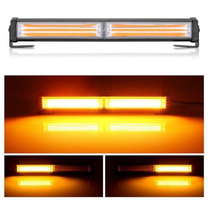 LED Barre Lumineuse 30cm 9 Fonctions 12V 24V Orange 36W