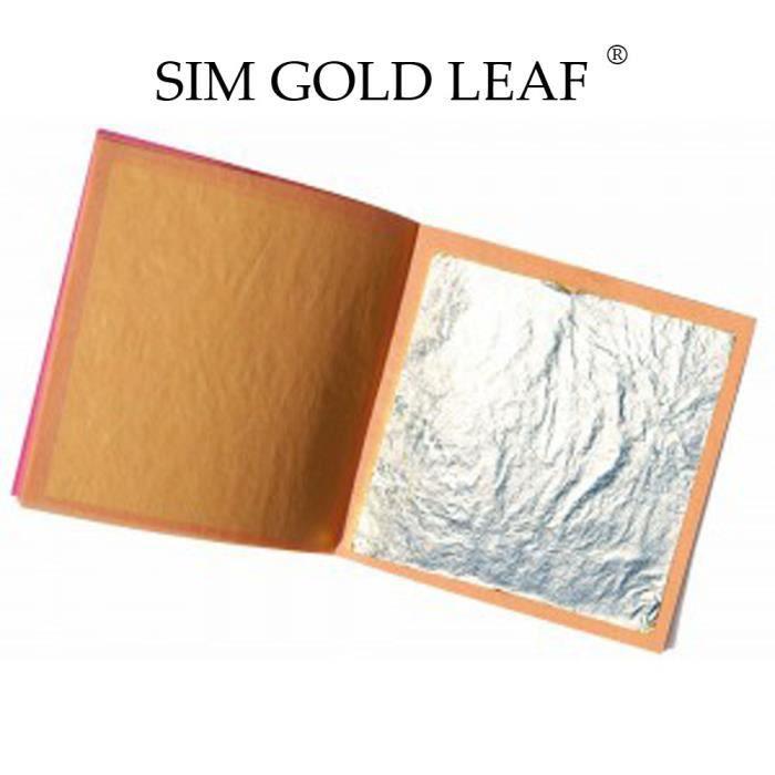 100 feuilles d'argent 40 mm X 40 mm comestible alimentaire