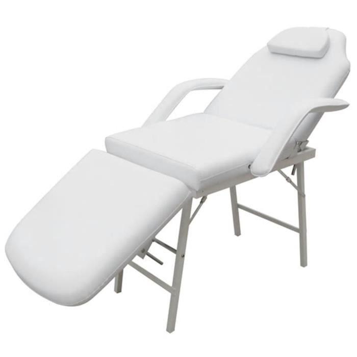 Fauteuil de massage pour traitement facial Simili-cuir Blanc-FUT