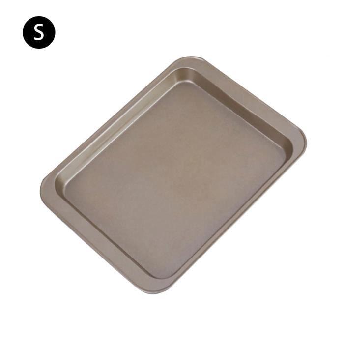 moule à pâtisserie pain gâteau four plateau bricolage métallique antiadhésif rectangulaire 24*18CM Or