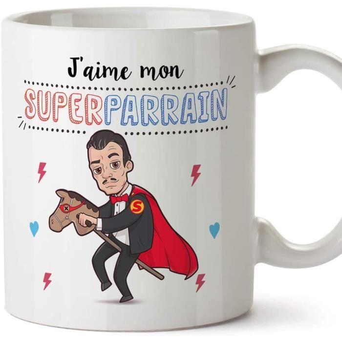 Parrain Mug Tasse – J'aime Mon Super Parrain – Tasse Originale Cadeau Anniversaire Fête des Pâques Future Parrain. Céramique 350 ML