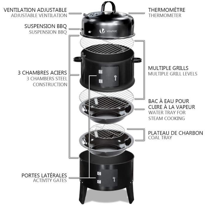 Barbecue Fumoir Smoker Multifonctions BBQ 3 en 1 Thermomètre intégré Barbecue Grill Charbon de Bois avec accroches