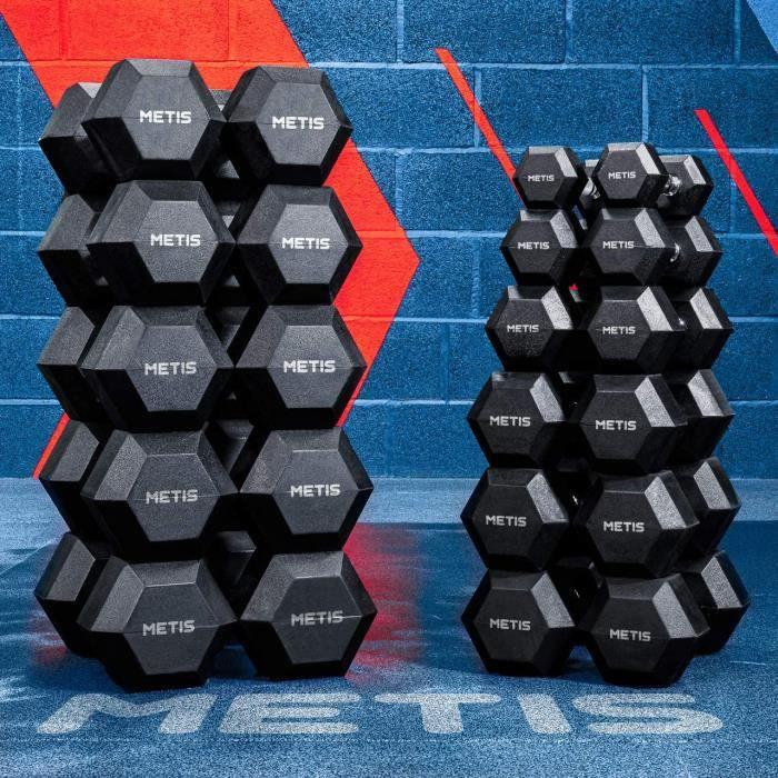 Halt&egraveres Hex Dumbbells – Paire de Charges Hexagonales Caoutchout&eacutees - Entra&icircnements & Musculation &agrave Do11