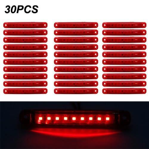 30pcs red 24v -SMD – feu latéral arrière rouge blanc jaune vert bleu 12-24V 9, pour voiture, Bus, camion, marqueur latéral de camion