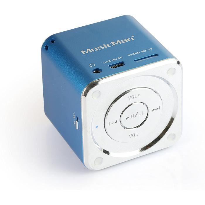 Technaxx JH-MD05 Mini Musicman Soundstation Haut parleur portable pour Lecteur mp3/iPod/iPhone Bleu